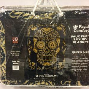 Sugar Skulls Black & Gold Queen Blanket NEW